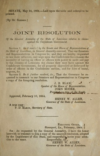 Joint resolution of the General Assembly of the state of Louisiana relative to claims against the Confederate government
