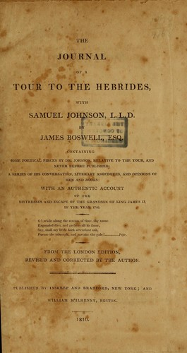 Download The journal of a tour to the Hebrides, with Samuel Johnson, LL.D.