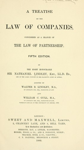 A treatise on the law of companies