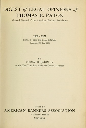 Digest of legal opinions of Thomas B. Paton