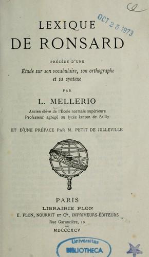 Lexique de Ronsard