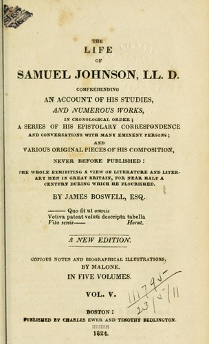 The life of Samuel Johnson, L.L.D., comprehending an account of his studies and numerous works, in chronological order