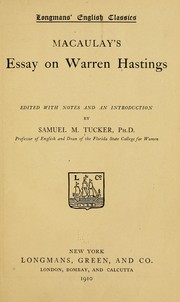 Macaulay&#39;s essay on Warren Hastings by Thomas Babington Macaulay