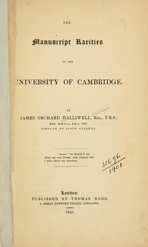 Download The manuscript rarities of the University of Cambridge.