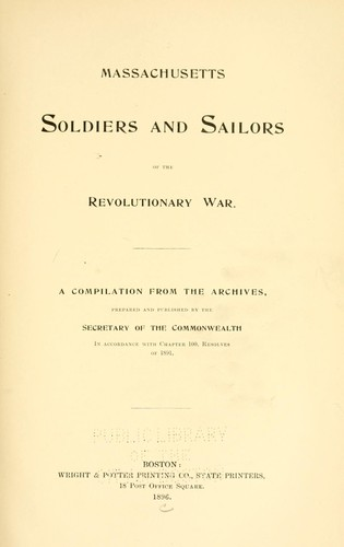 Download Massachusetts soldiers and sailors of the revolutionary war. Vol. 2, BESE – BYXBE