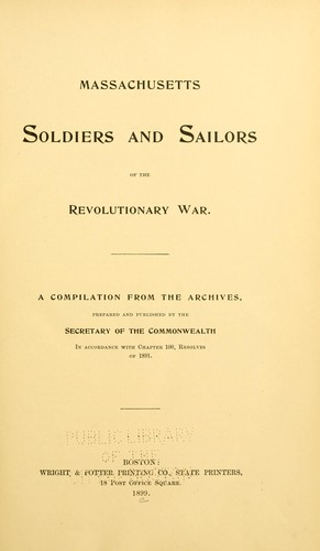 Massachusetts soldiers and sailors of the revolutionary war. Vol.5 DUARELL – FOYS