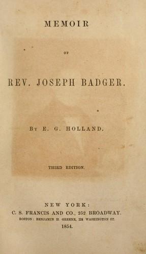 Download Memoir of Rev. Joseph Badger.