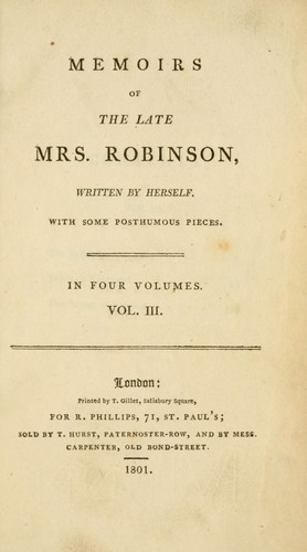 Download Memoirs of the late Mrs. Robinson