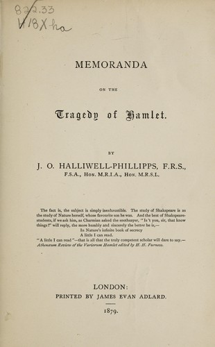 Download Memoranda on the tragedy of Hamlet.