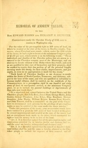 Cover of: Memorial of Andrew Taylor, to the Hon. Edwin Hardin and Benjamin H. Brewster, commissioners under the Cherokee treaty of 1835, now in session in Washington city. by Andrew Taylor