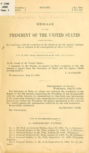 Cover of: Message of the President of the United States by United States. Department of State.