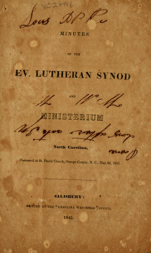 Download Minutes of the Ev. Lutheran Synod and Ministerium of North Carolina