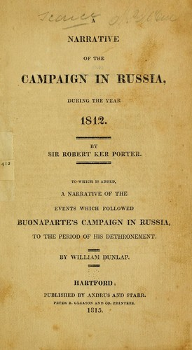 Download A narrative of the campaign in Russia, during the year 1812.