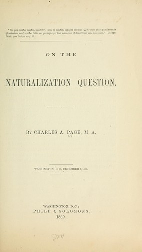 On the naturalization question.