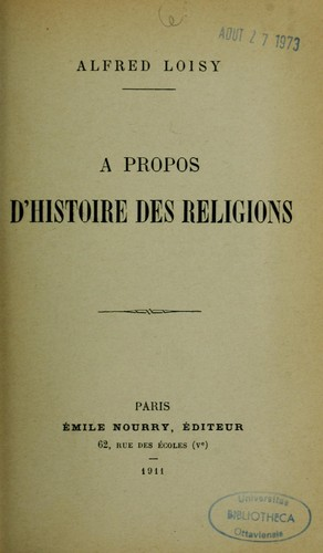 À propos d'histoire des religions.