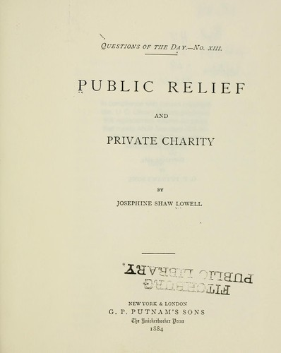 Download Public relief and private charity.