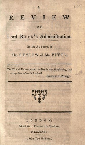 A review of Lord Bute's administration