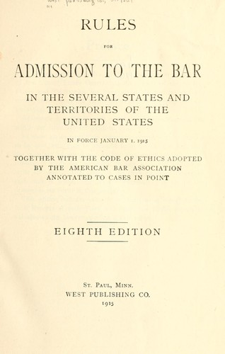 Download Rules for admission to the bar in the several states and territories of the United States