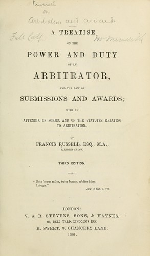 Download A treatise on the power and duty of an arbitrator, and the law of submissions and awards