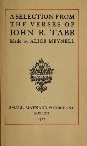 A selection from the verses of John B. Tabb