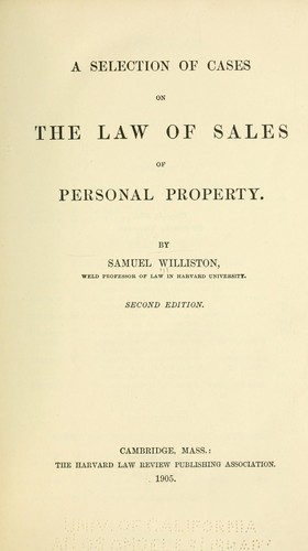 Download A selection of cases on the law of sales of personal property