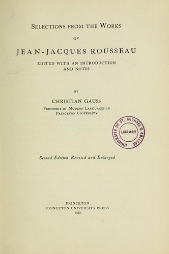 Download Selections from the works of Jean-Jacques Rousseau