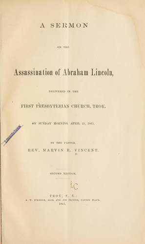 Download A sermon on the assassination of Abraham Lincoln