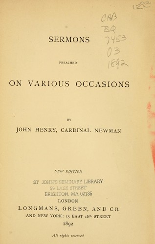 Download Sermons preached on various occasions