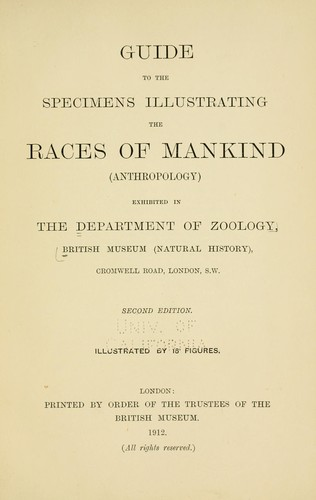Download Guide to the specimens illustrating the races of mankind (anthropology) exhibited in the Department of Zoology, British Museum (Natural History) …