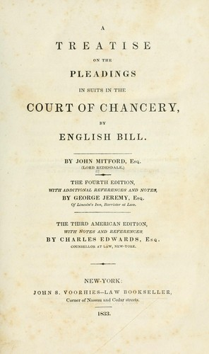 Download A treatise on the pleadings in suits in the Court of Chancery by English bill