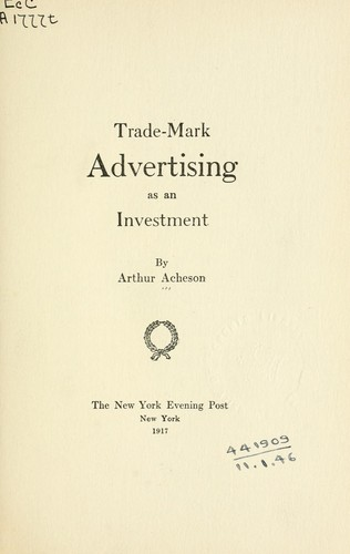 Trade-mark advertising as an investment