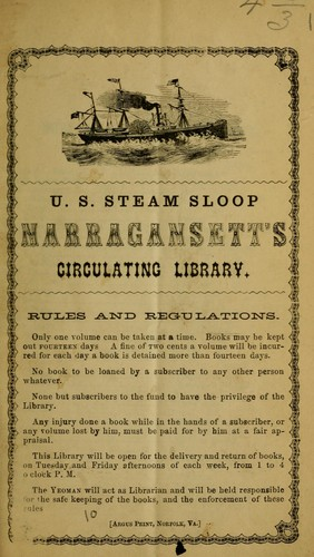 U.S. Steam Sloop Narragansett&#39;s circulating library by Narragansett (Steam sloop)