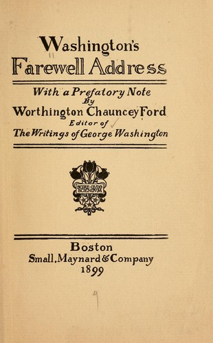 Washington's farewell address by George Washington