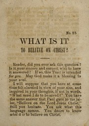 What is it to believe on Christ? PDF