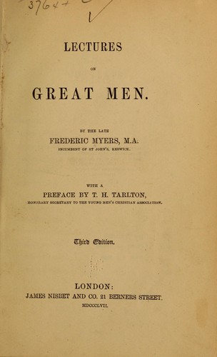 Lectures on great men.