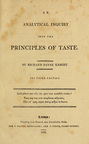 An analytical inquiry into the principles of taste PDF