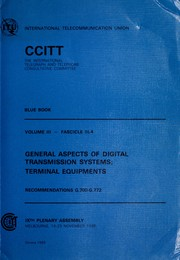 Blue book by International Telegraph and Telephone Consultative Committee. Plenary Assembly