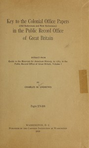 Key to the Colonial office papers PDF