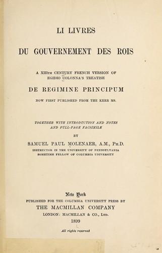 Li livres du gouvernement des rois