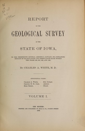 Download Report on the geological survey of the State of Iowa