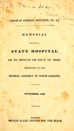 Memorial soliciting a state hospital for the protection and cure of the insane by Dorothea Lynde Dix