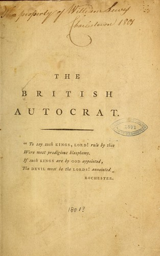 The British autocrat by