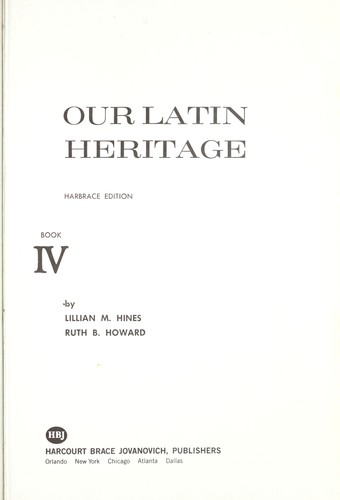 Our Latin Heritage by Lillian M. Hines
