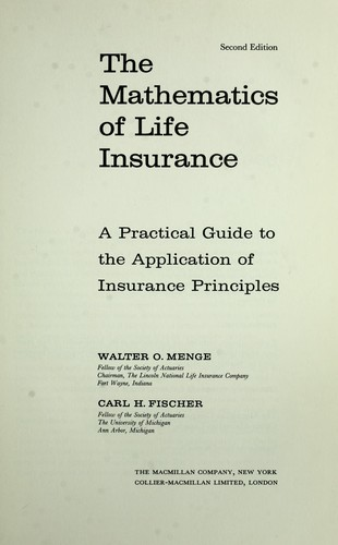 Download The mathematics of life insurance