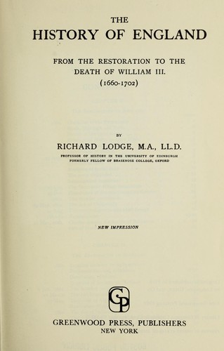 The history of England from the Restoration to the death of William III, 1660-1702.