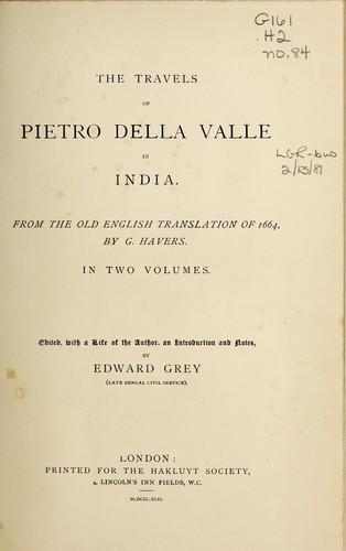 The travels of Pietro della Valle in India