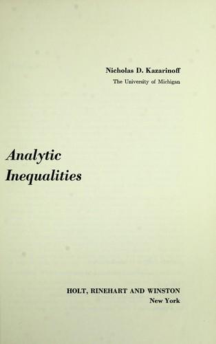 Analytic inequalities.