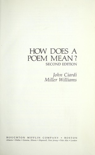 How does a poem mean?