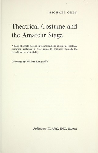 Download Theatrical costume and the amateur stage
