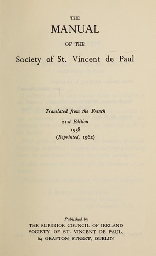 The manual of the Society of St. Vincent de Paul.